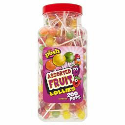Posh Assorted Fruit Lollypops 200 pcs in a jar