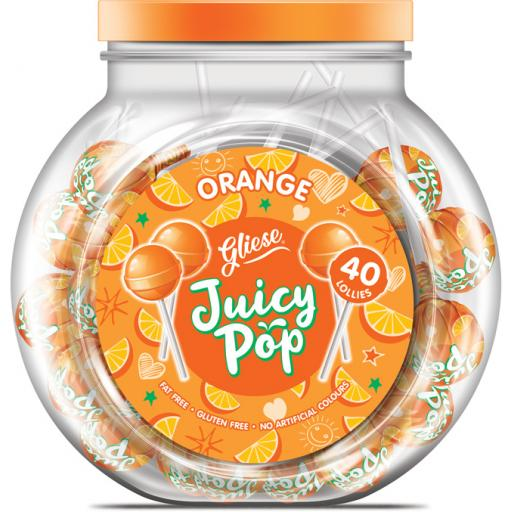 Juicy Pop Lollipops – Orange Flavour x 40 lolly pops