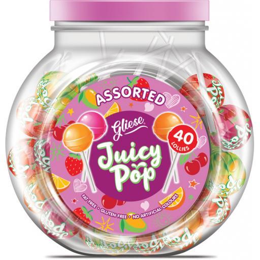 Juicy Pop Lollipops – Assorted Flavours 40 Lollys